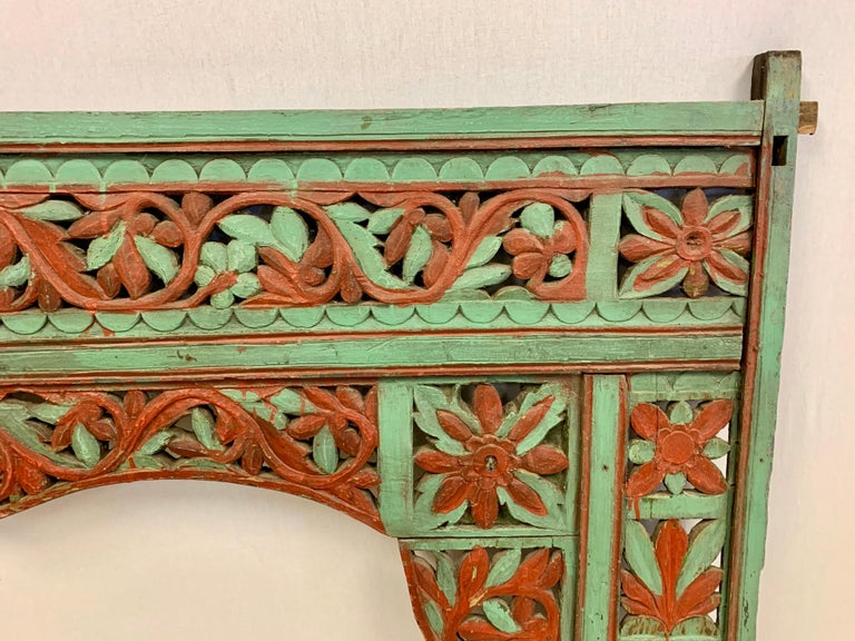 Ornate Balinese King Size Hand Carved Sculptural Headboard For Sale 4