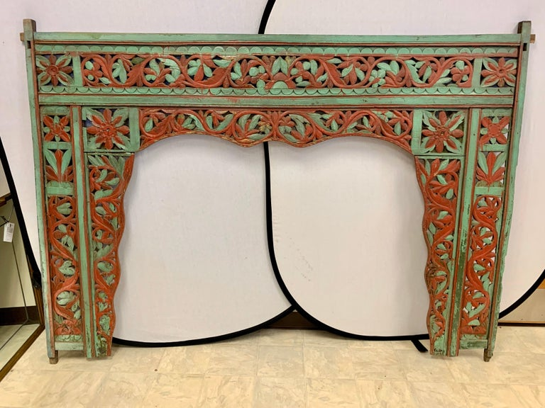 Neoclassical Revival Ornate Balinese King Size Hand Carved Sculptural Headboard For Sale