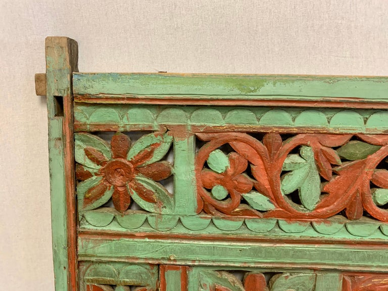 Ornate Balinese King Size Hand Carved Sculptural Headboard In Good Condition For Sale In West Hartford, CT