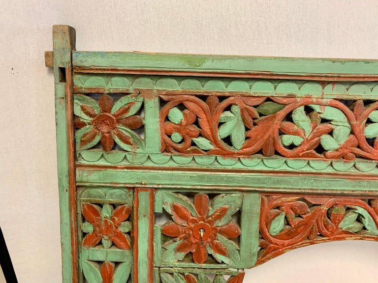 20th Century Ornate Balinese King Size Hand Carved Sculptural Headboard For Sale