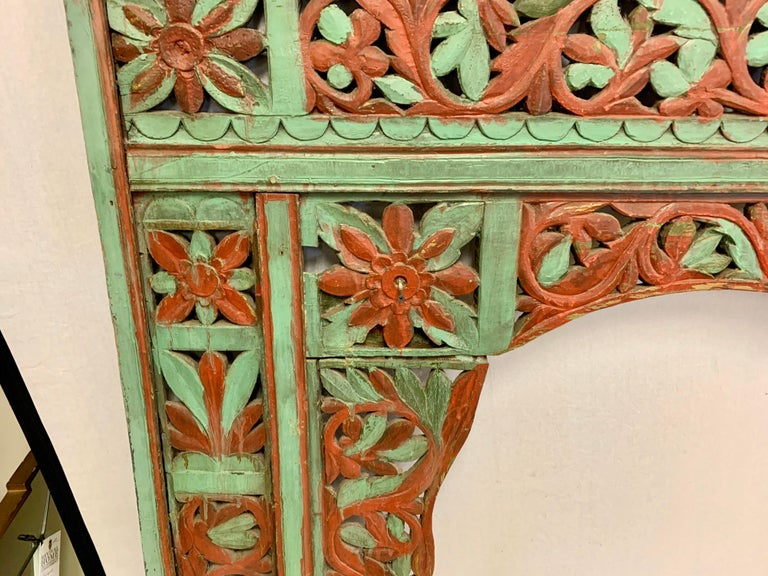 Wood Ornate Balinese King Size Hand Carved Sculptural Headboard For Sale