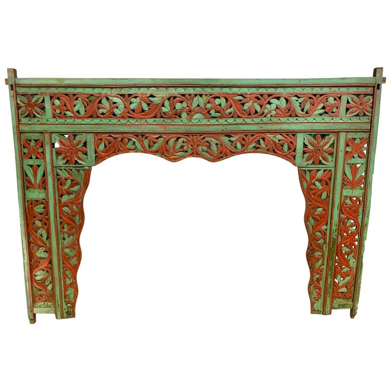 Ornate Balinese King Size Hand Carved Sculptural Headboard For Sale