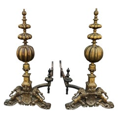 Ornate Brass Andirons with Lion Motif Early 19th Century