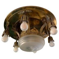 Ornate Brass Ceiling Light with 6 Light Bulbs 20th Century