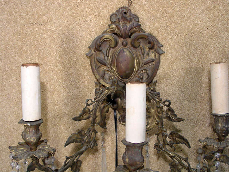 Unknown Ornate Bronze Rococo Wall Sconce For Sale