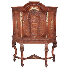 Ornate Carved Burled Walnut and Ormolu Mounted Bar Cabinet, circa 1920s