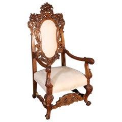 Ornate Carved Italian Walnut Victorian Throne Armchair, Circa 1920