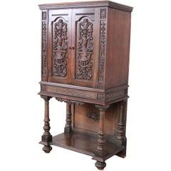 Ornate Carved Walnut Bar Cabinet, circa 1920s