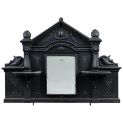 Ornate Cast Iron Arched Over Mantel Mirror, 20th Century