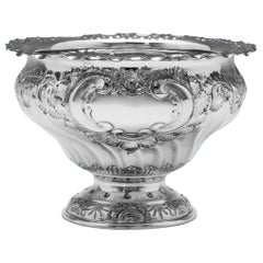 Ornate Chased Tulip Shaped Sterling Silver Bowl from 1902