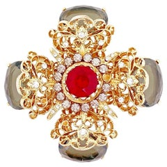 Ornate Cross Brooch With Ruby Red & Gray Crystals By Capri, 1970s