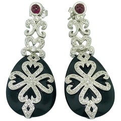 Ornate Diamond, Black Onyx and Garnet Drop Earrings in White Gold