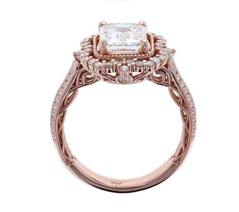 Art Deco Ornate Emerald Cut Diamond Engagement Ring in Rose Gold
