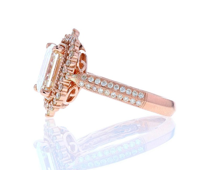 Ornate Emerald Cut Diamond Engagement Ring in Rose Gold In New Condition In Los Angeles, CA