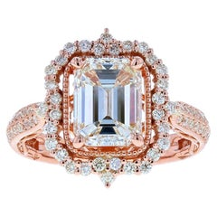 Ornate Emerald Cut Diamond Engagement Ring in Rose Gold