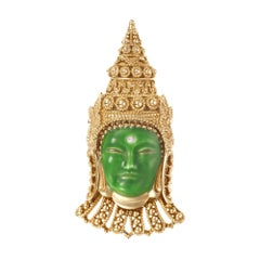 Ornate Emerald Enameled Buddha Head Brooch