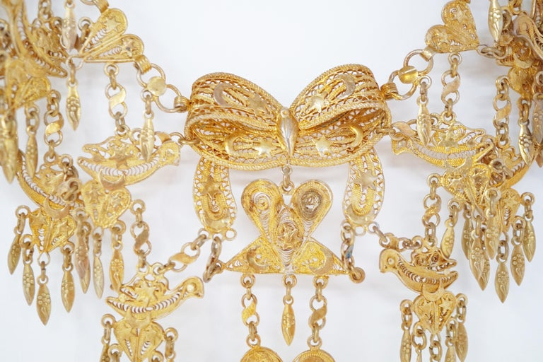 Artisan Ornate Filigree Statement Bib Necklace, circa 1960 For Sale