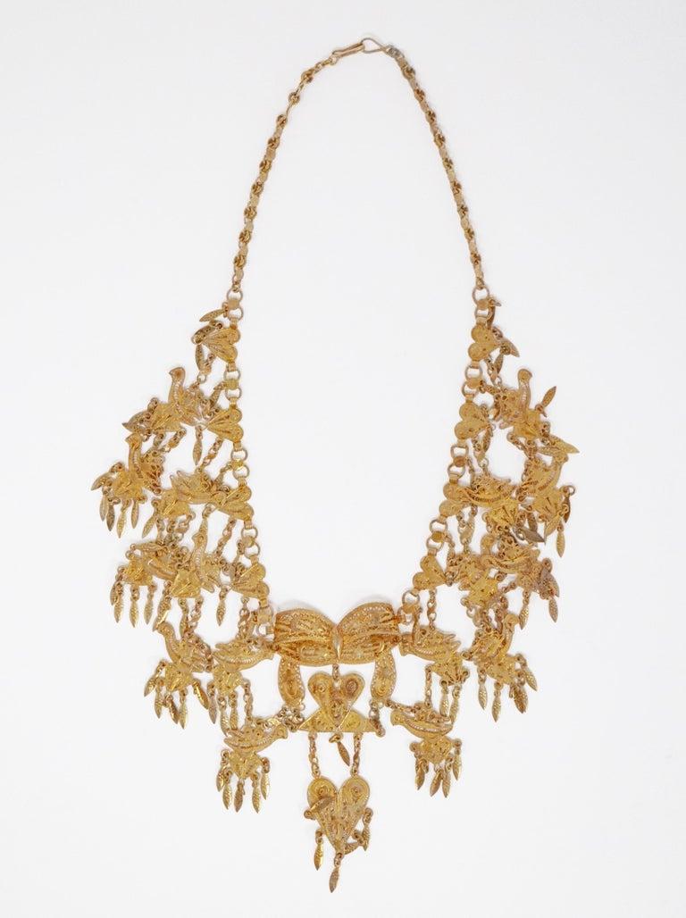 Ornate Filigree Statement Bib Necklace, circa 1960 In Good Condition For Sale In Los Angeles, CA