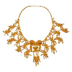 Ornate Filigree Statement Bib Necklace, circa 1960