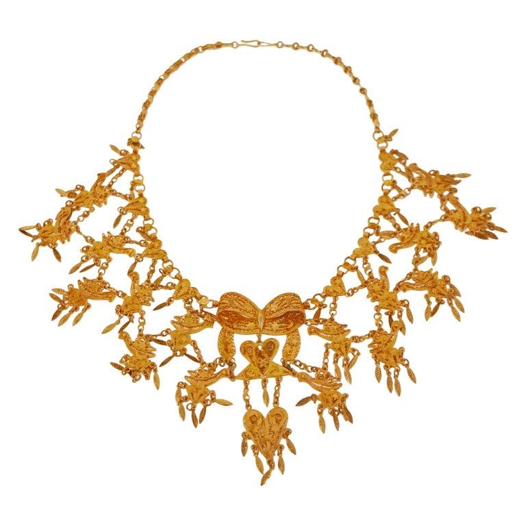Ornate Filigree Statement Bib Necklace, circa 1960 For Sale