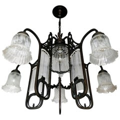 Ornate French Art Nouveau Art Deco Beaded Glass Straw Fringe 6-Light Chandelier