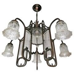 Ornate French Art Nouveau Art Deco Beaded Glass Straw Fringe 6-Light Chandelier