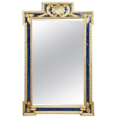 Ornate French Chelsea House Empire Style Blue and Gold Mirror Scalloped