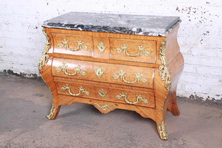Ornate French Louis XV Style Inlaid Mahogany Marble-Top Bombay Chest In Good Condition For Sale In South Bend, IN