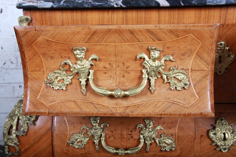 Ornate French Louis XV Style Inlaid Mahogany Marble-Top Bombay Chest For Sale 1