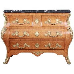 Ornate French Louis XV Style Inlaid Mahogany Marble Top Bombay Chest