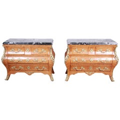 Ornate French Louis XV Style Inlaid Mahogany Marble Top Bombay Chests, Pair