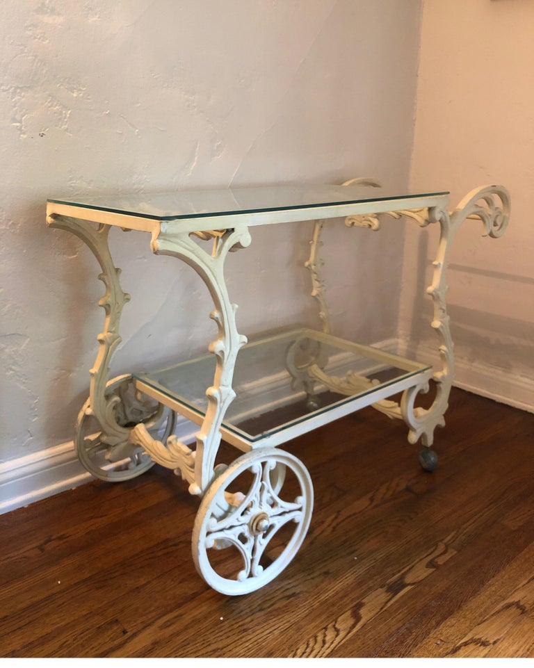 Ornate French Style Wrought Iron Patio Garden Bar Cart