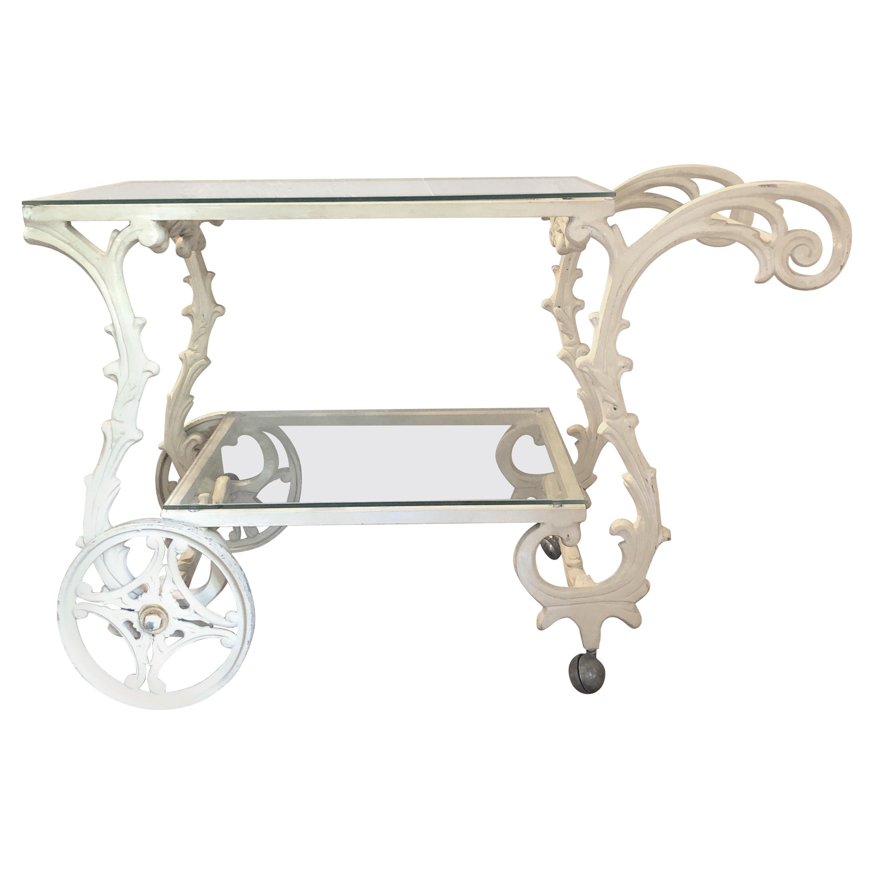 Ornate French Style Wrought Iron Patio/Garden Bar Cart Trolley W/Glass  Shelves