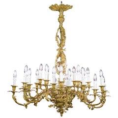 Ornate Gilt Brass Rococo Chandelier