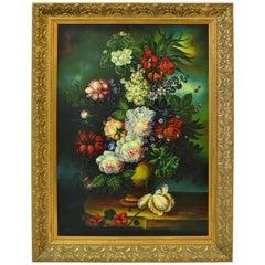 Ornate Gilt Framed Oil Painting Floral Bouquet Still Life Signed James Moran