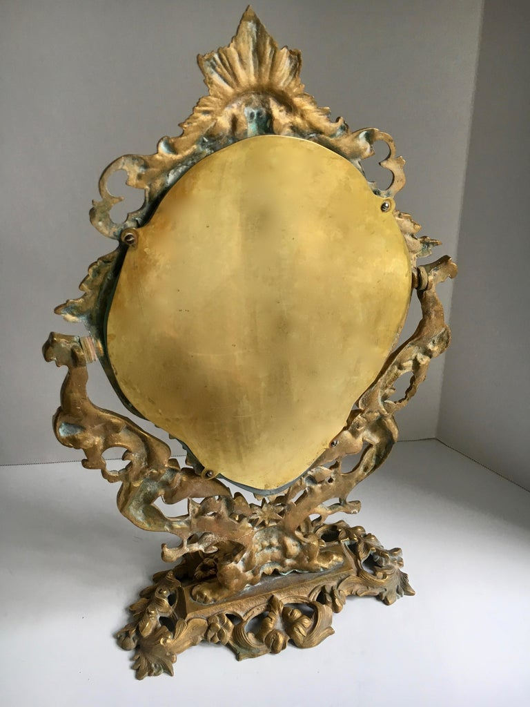 20th Century Ornate Gilt Table Vanity Mirror For Sale