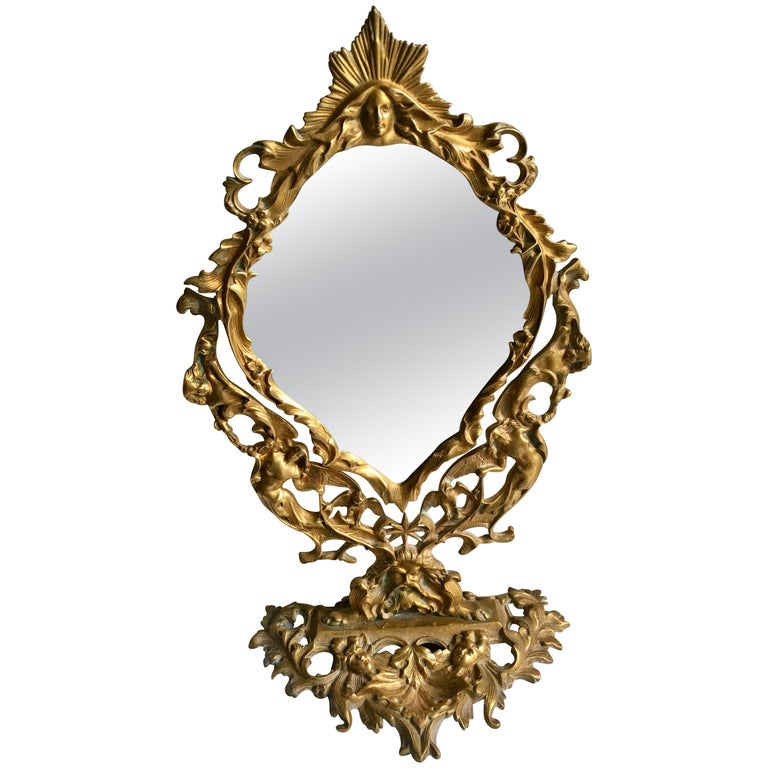 Ornate Gilt Table Vanity Mirror For Sale