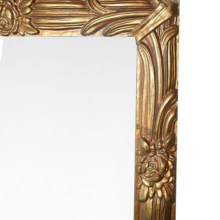 Napoleon III Ornate Gold Giltwood Wide Mirror with Hand-Carved Details For Sale