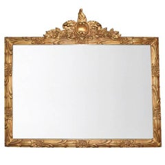 Horizontal Louis XVI Ornate Gold Giltwood Wide Mirror with Hand-Carved Details