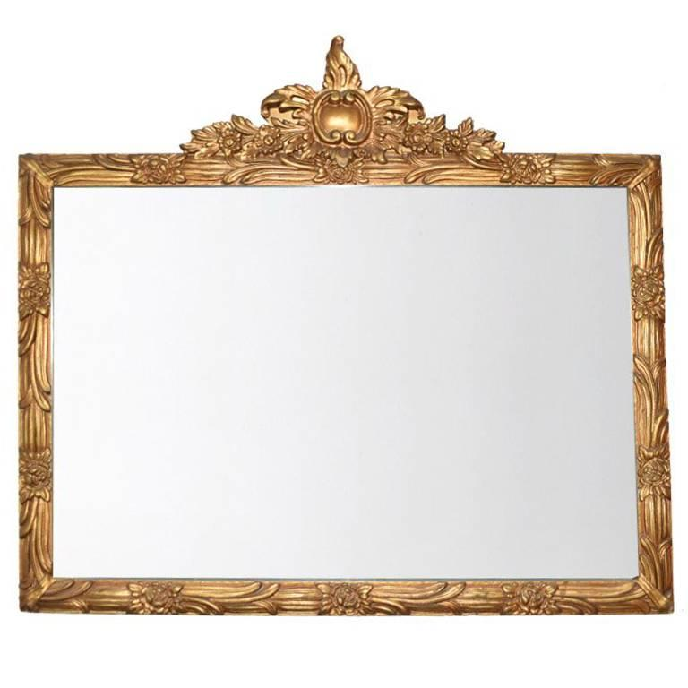 Ornate Gold Giltwood Wide Mirror with Hand-Carved Details For Sale
