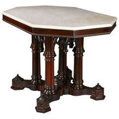 Ornate Gothic Center Table with Marble Top