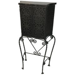 Ornate Gothic Wrought Iron Cabinet with Marble Top