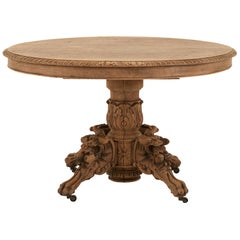 Ornate Hand Carved Oak French Hunt Table