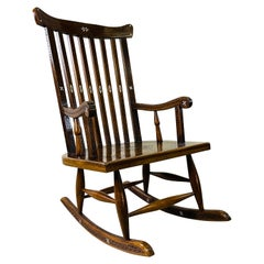 Ornate Inlaid Wide Seat Rocking Chair