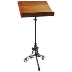 Ornate Iron and Oak Book Stand