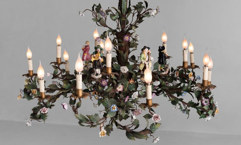 Italian Ornate Iron Floral Chandelier with Porcelain Figures, Italy circa 1920 For Sale