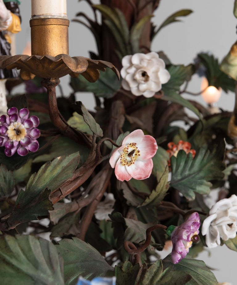 Cast Ornate Iron Floral Chandelier with Porcelain Figures, Italy circa 1920 For Sale