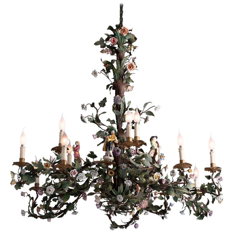 Ornate Iron Ring Chandelier: Ornate Iron Floral Chandelier With Porcelain Figures
