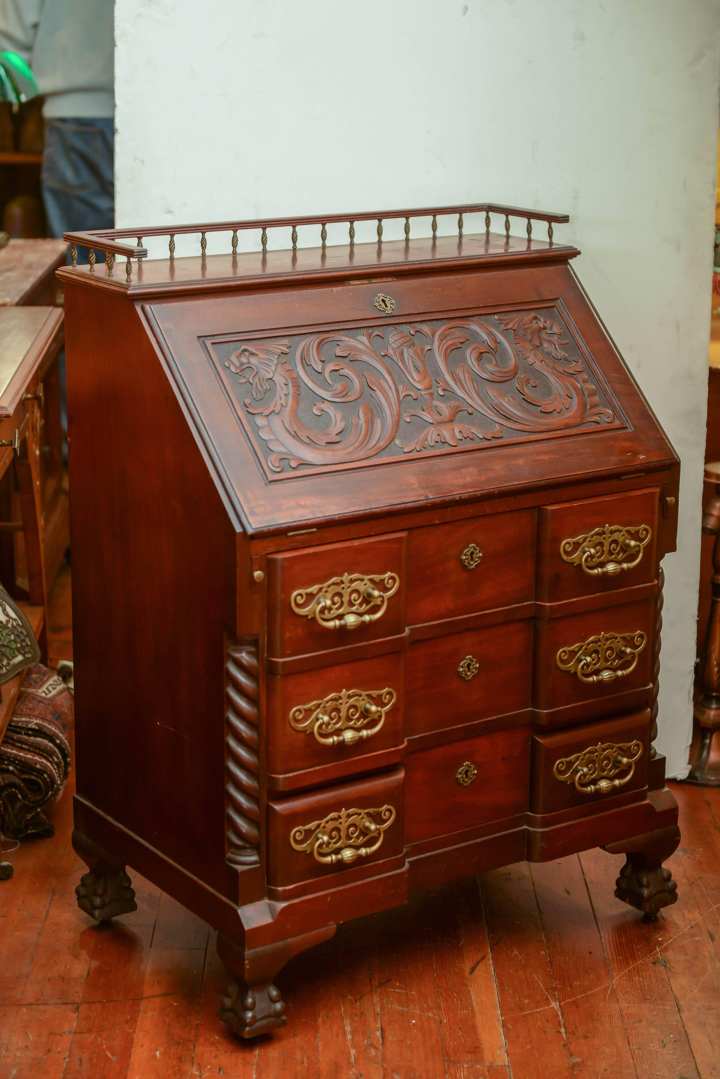 Ornate Late Victorian Block Front Drop Front Secretary Desk For Sale