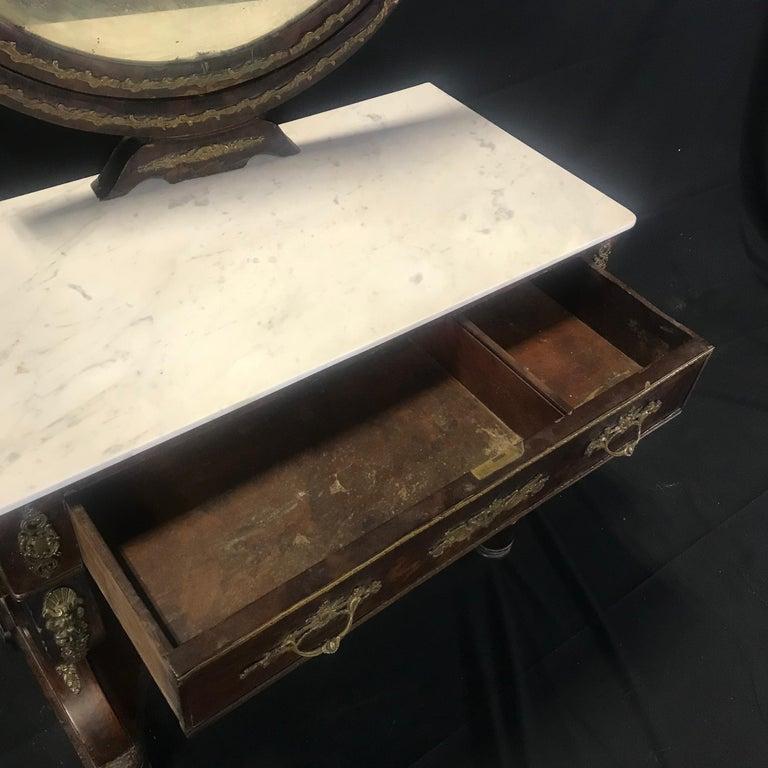 Ornate Lavish Charles X Mahogany Empire Dressing Table For Sale 11